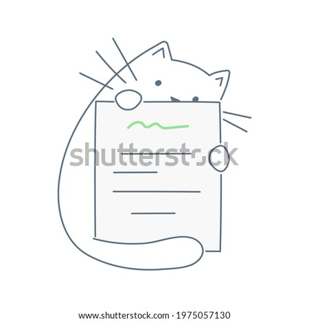 the cute cartoon cat is holding
