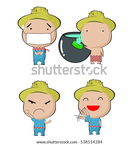 the cute farmer emotion cartoon