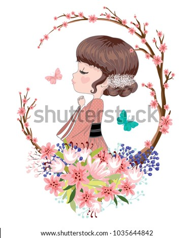 stock-vector-the-cute-little-japanese-girl-is-praying