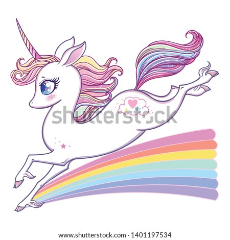 The cute magic Rainbow Unicorn and fairy elements collection. Isolated vector illustration.