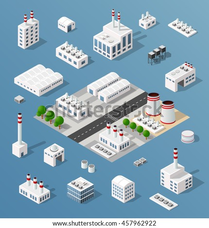 The 3D perspective aspect of set of objects of industrial plants, factories, parking lots and warehouses. Isometric view from above the city with streets, buildings and trees.