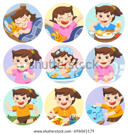 The daily routine of a cute girl on a white background. [sleep, brush teeth, take a bath, eat, saving money, wake up, draw a picture, sitting on the toilet, running]. Isolated vector