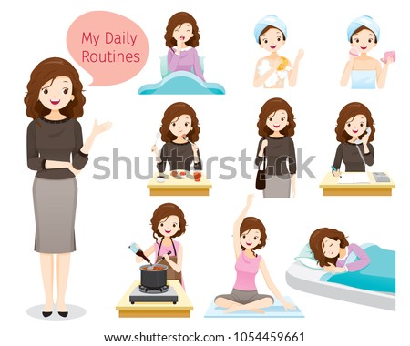 The Daily Routines Of Woman, People, Activities, Habit, Lifestyle, Leisure, Hobby, Avocation