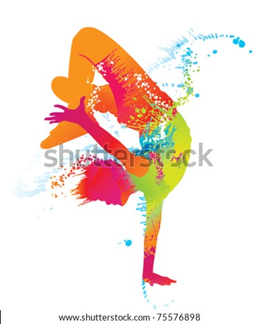 The dancing boy with colorful spots and splashes on white background. Vector illustration. - stock vector