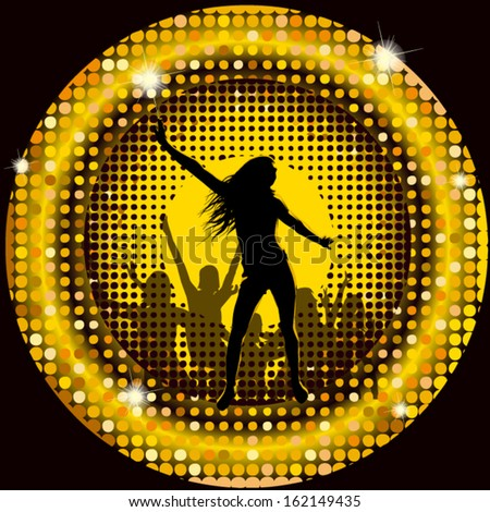 Stock Photo The dancing girl in a disco  in a gold circle