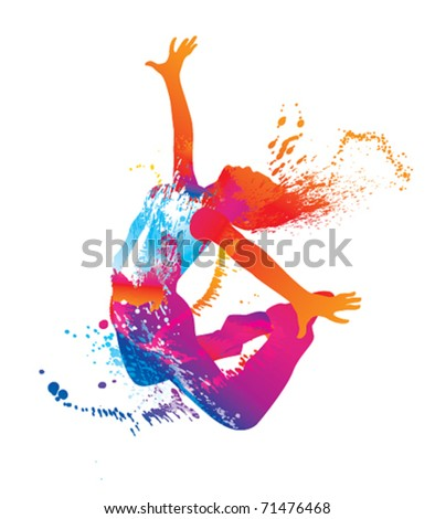 The dancing girl with colorful spots and splashes on white background. Vector illustration.