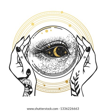 The Darkness inside of the crystal ball. Vector hand drawn illustration for t-shirt prints, temporary tattoos and other designs