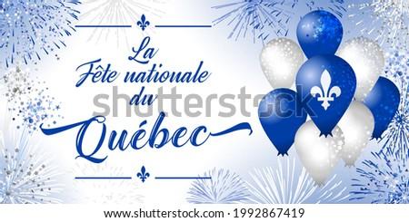 The Day of Quebec creative congrats concept. Decorative French typescript La Fete Nationale du Quebec, English translation National Quebec's Day. Isolated graphic design template. John the Baptist Day Stockfoto ©