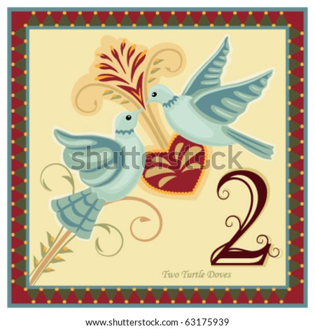 The 12 Days of Christmas - 2-nd day - Two turtle doves.  Vector illustration saved as EPS AI 8, no effects, no gradients, easy print. Zdjęcia stock ©