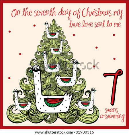 Of christmas seventh day seven swans a swimming stock vector