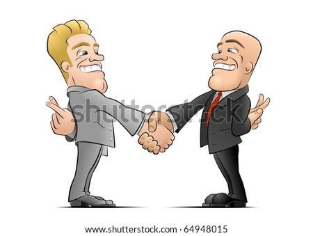 The Deal. Two businessmans shaking hands and hiding crossed fingers behind their backs. Illustration on the theme of The Flip Side of a Business. Stock photo ©