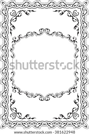 The decor baroque nice frame isolated on white | EZ Canvas