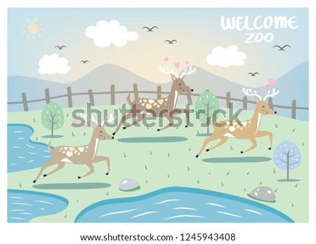 the deer design runs in the zoo'