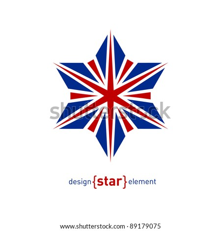 The Design element star with United Kingdom flag colors