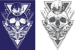 the design of skull with hawk moth and sacred geometric elements, hipster triangles, mystical symbols. Tattoo style graphic design. Vector
