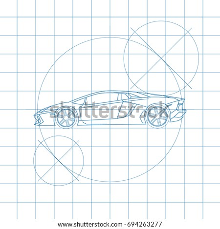 Stock Photo The design of the car drawing on a white background, blue print vector illustration.