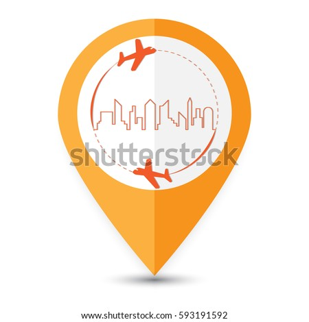 The destination place travel symbol. Around the world travelling by plane in city country background. Flying above the earth. Concept vector illustration.