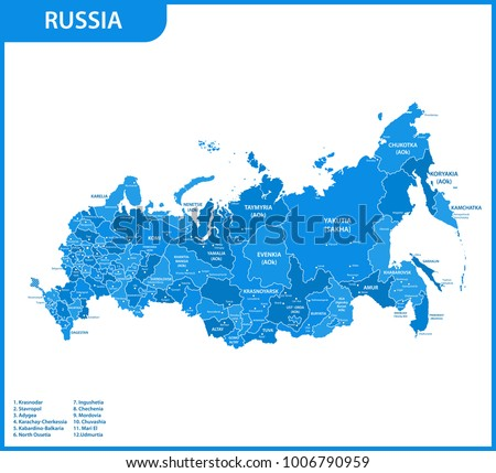 the detailed map of the russia