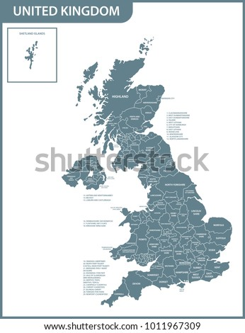 The detailed map of the United Kingdom with regions or states. Actual current relevant UK, Great Britain administrative devision.