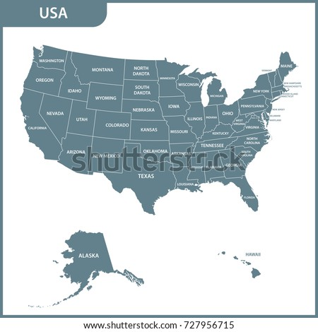 The detailed map of the USA with regions. United States of America.