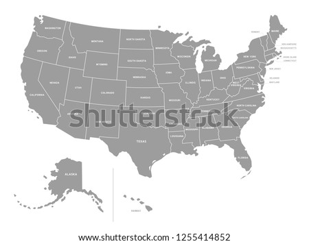 The detailed Vector Grey Map of the USA with states