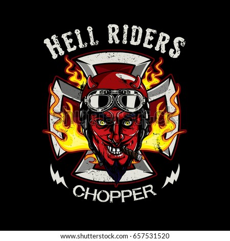 the devil of biker in t-shirt style design, texture is easy to remove