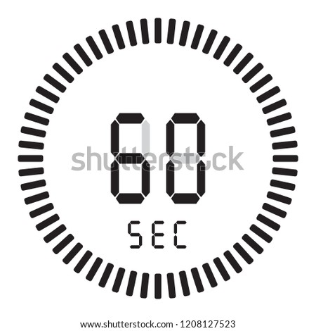 The digital timer 60 seconds, 1 minute. electronic stopwatch with a gradient dial starting vector icon, clock and watch, timer, countdown symbol.