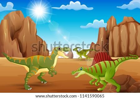the dinosaur enjoy on desert of