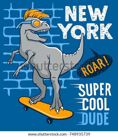 the dinosaur is riding on a