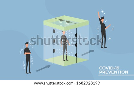 The disinfection chambers are able to sterilize the human body from germs, bacteria and viruses. The antiseptic spray used in the chambers resembles hand sanitizer fluid in its composition. covid-19 Stock photo ©