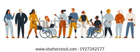 The diverse group of people, entrepreneurs, or office workers isolated on white background. Multinational company. Old and young men and women standing together. Flat cartoon vector illustration.