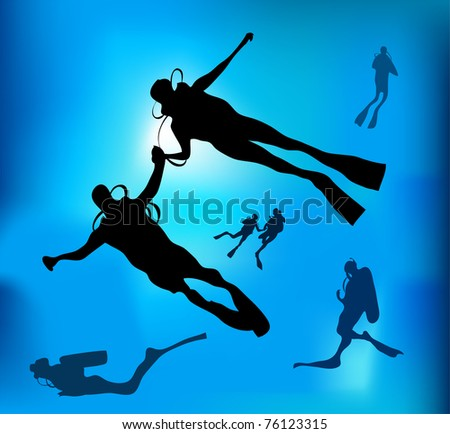 The diving - stock vector