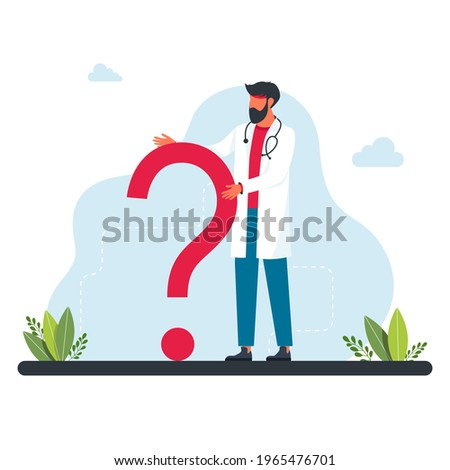 The doctor stands in front of large question mark. Questions to doctor about disease, online consultation, faq. Ask the doctor. Doctor, medical professional is standing in front a question mark.