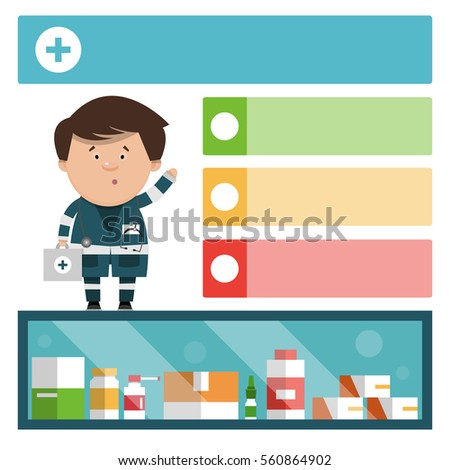 The doctor talks about medication. Medical ad template. Vector illustration for your design - Shutterstock ID 560864902