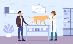 The dog standing on the table at the veterinary office, being examining by the doctor and getting a shot. Vector Image with happy dogs owner and veterinarian