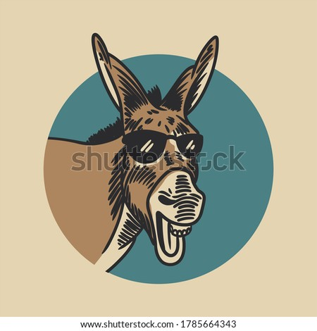 the donkey laughing and wearing glasses in the background of a blue circle vintage illustration ストックフォト ©