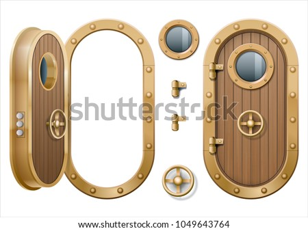 The Door And Window Of The Ship Polishing Metal. Perhaps The Door  Compartment Of The · Metallic Porthole.