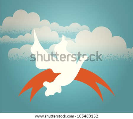 The dove hovering in the sky against a background of clouds. Retro illustration.