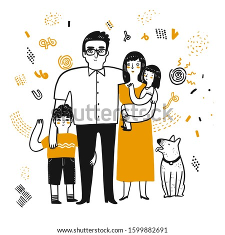 The drawing character of family. The appearance and lifestyle. Collection of hand drawn. Vector illustration in sketch doodle style.