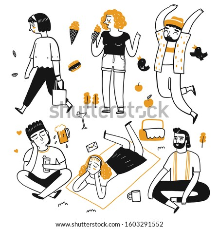 The drawing character of people are kind , eat, quiet, sit. Collection of hand drawn. Vector illustration in sketch doodle style.
