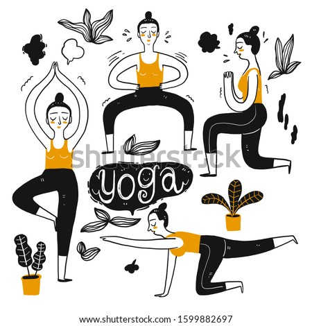 The drawing character of people playing yoga. The appearance and lifestyle. Collection of hand drawn. Vector illustration in sketch doodle style.