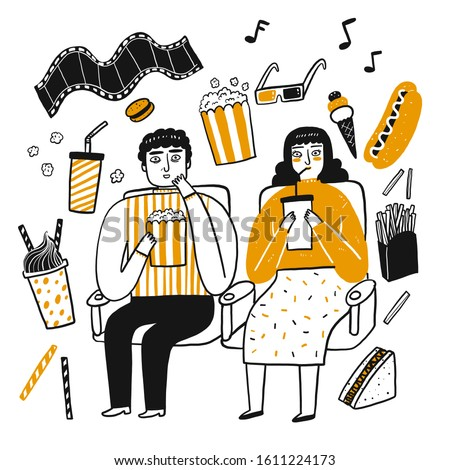 The drawing character of people, Popcorn lover. Vector illustration in sketch doodle style.