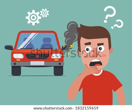the driver car broke down and he doesn know what to do. smoke from under the hood. flat vector character illustration. Stockfoto ©