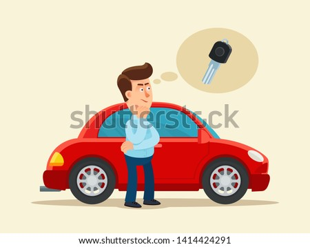 The driver lost his car keys. Thinking man, he doesn't remember where car keys left. Locked car door. Vector illustration. Flat, cartoon style. Isolated background.