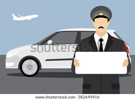 The driver who met at the airport with a placard.