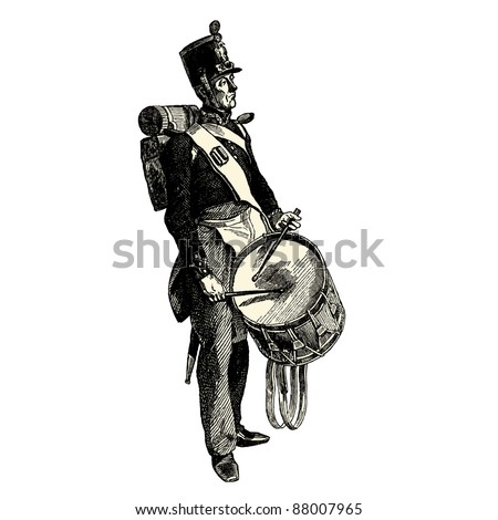 The drummer - Vintage engraved illustration -