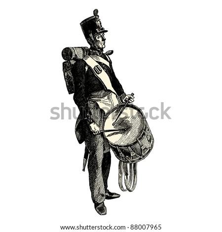 The drummer - Vintage engraved illustration -