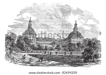 The ducal palace or Schloss Friedenstein or Friedenstein castle, in Gotha, Germany, during the 1890s, vintage engraving. Trousset encyclopedia (1886 - 1891).