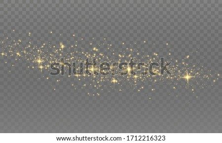 The dust is yellow. yellow sparks and golden stars shine with special light. Vector sparkles on a transparent background. Christmas light effect. Sparkling magical dust particles.