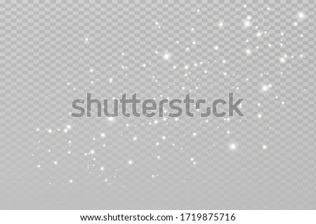 The dust sparks and white stars shine with special light. Vector sparkles on a transparent background. Christmas light effect. Sparkling magical dust particles.